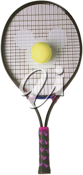 Royalty Free Photo of a Tennis Racket and Tennis Ball with Mickey Mouse Emlem