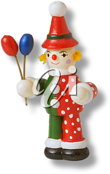 Royalty Free Photo of a Wooden Toy Clown Holding Balloons