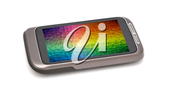 Modern smartphone with colorful wallpaper background on screen. Smartphone is placed on white background.