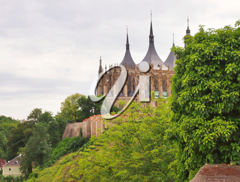 Famous gothic St. Barbara church in Kutna Hora, Czech Republic. Landscape view on St. Barbara church from Brukner park.