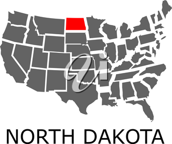 Bordering map of USA with State of North Dakota marked with red color.