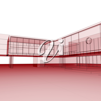 Red blueprint on white. Building design and 3d rendering model my own