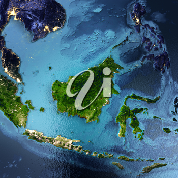 Indonesia, Malaysia, Philippines, Bangkok, Vietnam. Elements of this image furnished by NASA. 3D rendering