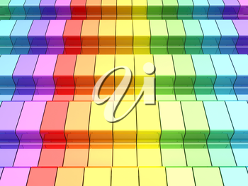 Colorful rainbow. 3d rendering of rainbow shapes