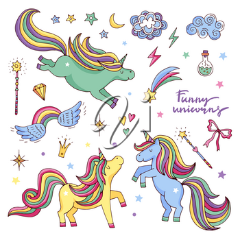 Vector funny set with rainbow, unicorn and other magic attributes. Stars, clouds and wings. Fabulously character unicorn and elements, illustration of magic fantasy character