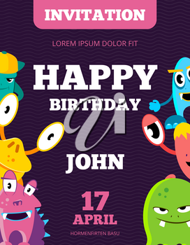 Children happy birthday invitation vector card with playful funny laughing monsters. Birthday invitation card with happy monster, illustration of banner with animal monsters