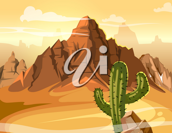 Desert hills, cactus near big mountain. Vector yellow background illustration. Western mountain desert panorama, natural mountain and green cactus