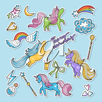 Fashioned vector stickers. Nineties retro style. Unicorn, rainbow an other magic elements. Set of sticker cartoon unicorn, illustation of stickers wing and potion