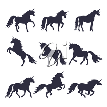 Mythology illustrations set of unicorns silhouette in different poses. Vector pictures of medieval black horses. Black silhouette unicorn, illustration of animal magic silhouette