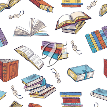 Different books from library. Doodle vector illustrations. Seamless pattern with book library, pattern background school book literature