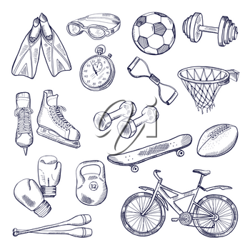 Vector doodle set of sport equipment. Hand drawn illustrations isolate on white background. Sport weight and box gloves, skates and football ball