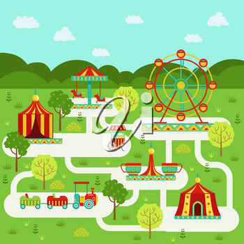Vector map of amusement park with attractions. Family on vacation. Amusement park and recreation place with ferris wheel illustration