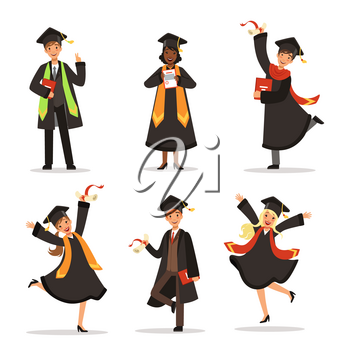 Success and happy students. Graduation in different countries. Vector characters. Graduation educationm illustration of character student university or college
