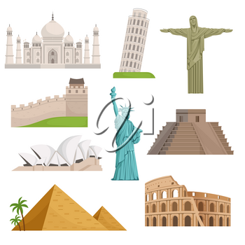 Different historical famous landmarks. World places. Vector illustrations. Set of monuments and famous landmark architecture