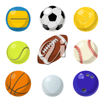 Sport equipment. Different balls in cartoon style. Vector collection set of balls for tennis and handball, baseball and basketball illustration