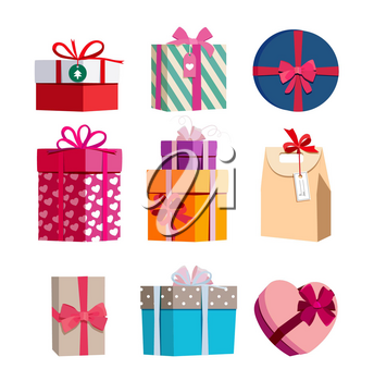 Different color gift boxes with ribbons. Vector illustrations set of colored gifts for birthday and new year