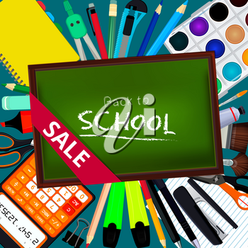 Back to school. Background illustrations with different office stationery tools and equipment for artists. Poster layout place for your text. Stationery equipment for education, back school banner