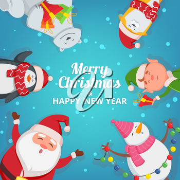 Christmas background with funny characters. Design template with place for your text. Christmas banner card template with snowman and elf illustration