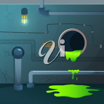 Old basement. Acid dripping from pipe. Game background with sewage waste and green chemical liquid, vector illustration