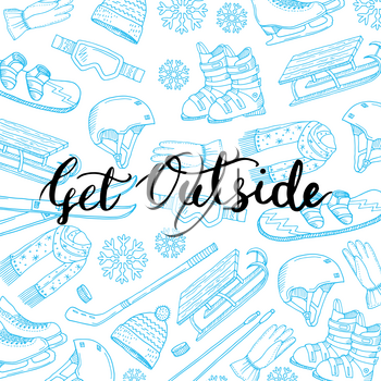 Vector hand drawn winter sports equipment and attributes background with place for text illustration