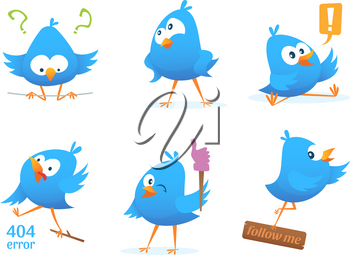 Funny characters of blue birds in action poses. Action bird, and funny animal. Vector illustration