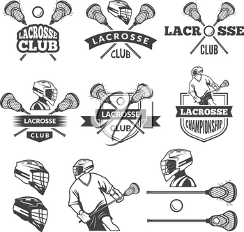 Labels of lacrosse club. Vector monochrome pictures set. Illustration of lacrosse game, sport label with equipment