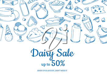 Vector sketched dairy elements sale illustration with place for text