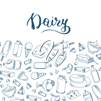 Vector banner sketched dairy products illustration with place for text