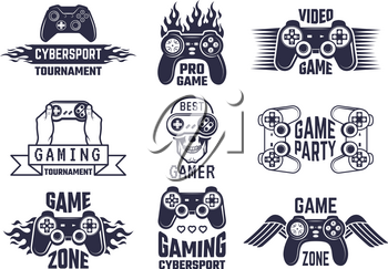 Gaming logo set. Video games and cyber sport labels. Gamer emblem logo, sport cyber, video gaming, vector illustration