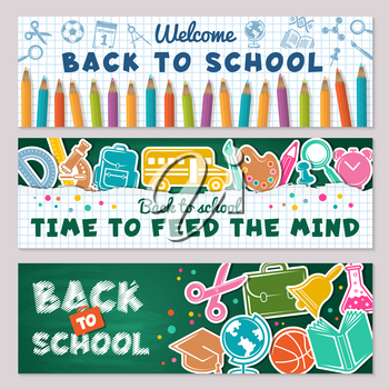 School banners. Vector illustrations for back to school banners. School welcome banner, education and supplies for study