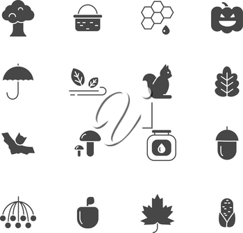 Autumn symbols. Vector monochrome icons set of autumn. illustration of plant and basket, rowan and tree