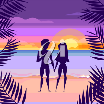 Loving couple on the beach. Sunset. Cartoon style. Beach and sun, people love and romantic, vector illustration