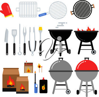 Flat illustrations set for bbq party. Different barbecue tools. Meat, grilling, knifes. Set of barbecue tools grill and fork vector
