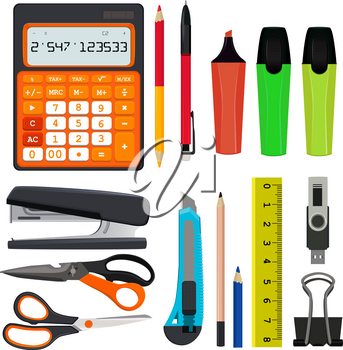 Pencils pens and other different office stationery vector illustrations set isolate on white. Stapler and ruler, flash drive and calculator