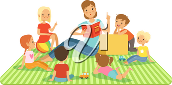 Teacher and kids in big classroom at lesson. Childrens sitting at their dasks. Vector illustrations in cartoon style. Teacher read book for children