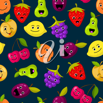 Vector flat fruits with cute faces pattern or background. Color fruits illustration