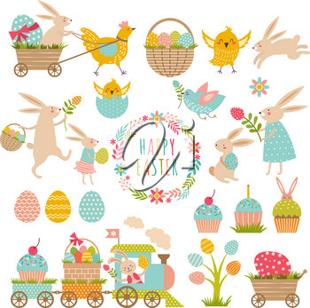 Vintage elements set of easter theme. Rabbits, eggs, ribbons and others symbols. Easter eggs and rabbit, holiday greeting. Vector illustration