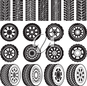 Monochrome pictures with wheels and tyres protector. Tire wheel, rubber track, trace imprint, vector illustration
