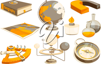 Symbols of science and geography. Tools for laboratory. Vector monochrome pictures set. Illustration of equipment measurement, instrument magnet and sextant