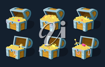 Vector illustration of cartoon chest with treasure. Wood box with golden coins, antique cash in containe