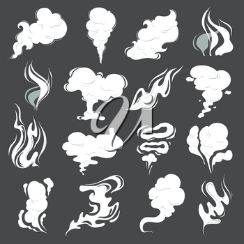 Smoke clouds. Steam puff cigarette or food smell vector abstract illustrations of fume in cartoon style. Cloud vapor, smell cigarette, smoky aroma