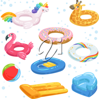 Inflatable rubber, mattresses balls and other water equipments for kids. Ring multicolored giraffe and boat, flamingo and unicorn. Vector illustration