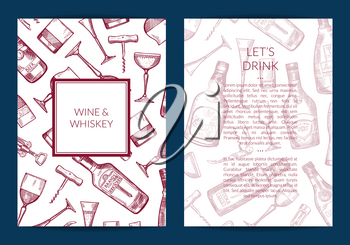Vector hand drawn alcohol drink bottles and glasses card, flyer or brochure template for bar or night club illustration