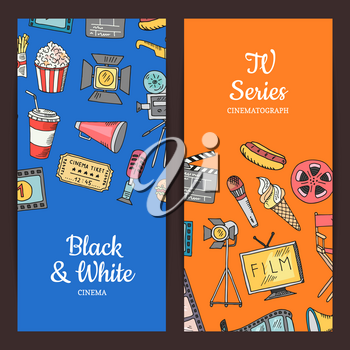 Vector cinema doodle icons illustration. Set of colored banners or poster
