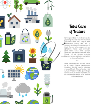 Vector background with place for text and with ecology flat icons illustration