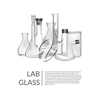 Vector background with place for text and chemical laboratory glass tubes illustration
