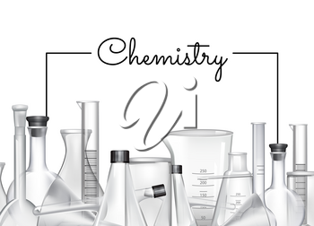 Vector hand drawn banner or poster background with place for text and chemical laboratory glass tubes illustration