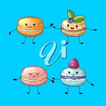 Vector characters pairs of colored hand drawn macaroons with cute faces illustration