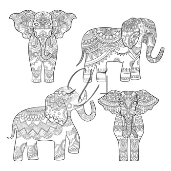 Elephant decorative pattern. Indian motif tribal royal design for adults colored pages vector illustrations. Elephant indian, tribal pattern, totem animal tattoo