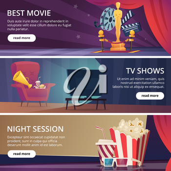 Cinema banners. Movie video and theater entertainment cartoon icons 3d glasses popcorn clapper megaphone vector design template. Best movie and television show, night session cinema illustration